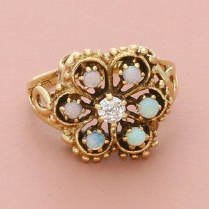 14k yellow gold vintage diamond & opal ring